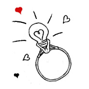 Pencil drawing of a Light bulb engagement ring