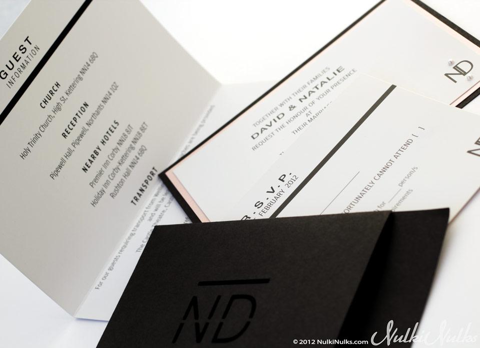 Black & White Monogram Pocket Wedding Invitation, R.S.V.P. and Guest information