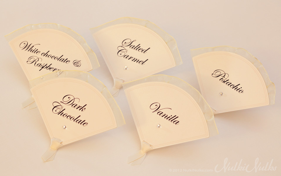 Fan shaped dessert labels