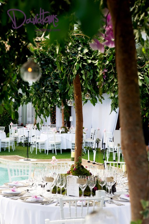 Wedding Tablescape of trees and lanterns