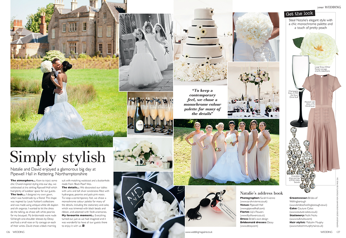 Two page spread wedding magazine article