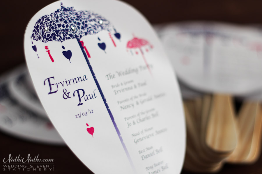 Paddle Fan with wedding party list