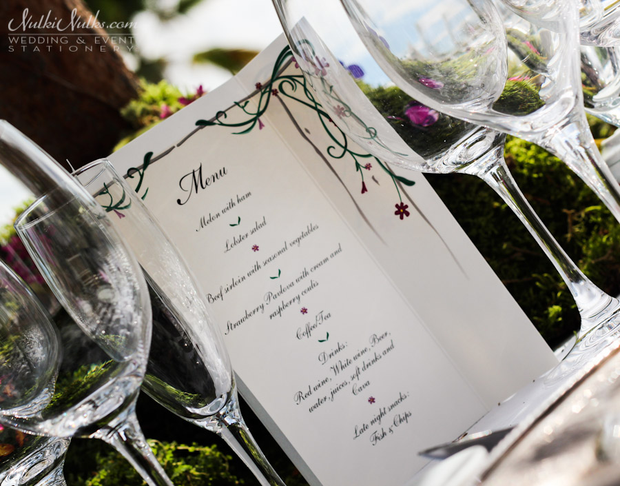 Wedding menu secret garden theme