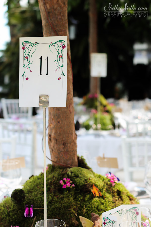 Table Number secret garden theme