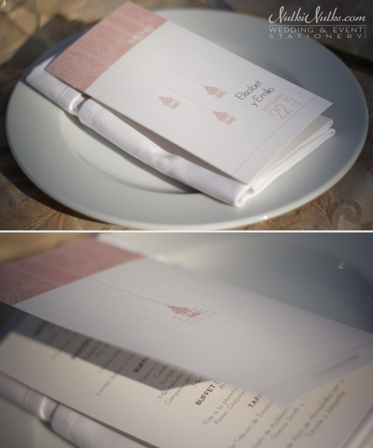 Wedding menu front and back