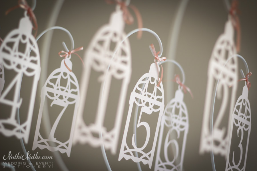 Hanging wedding table numbers