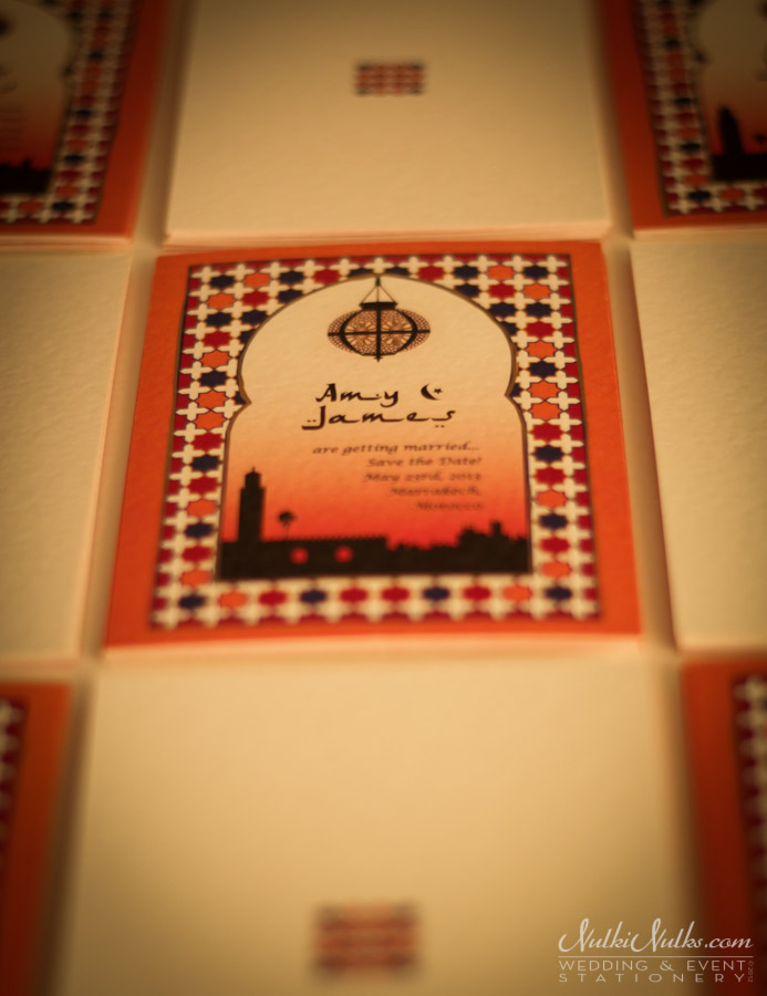Moroccan Save the date wedding invitation