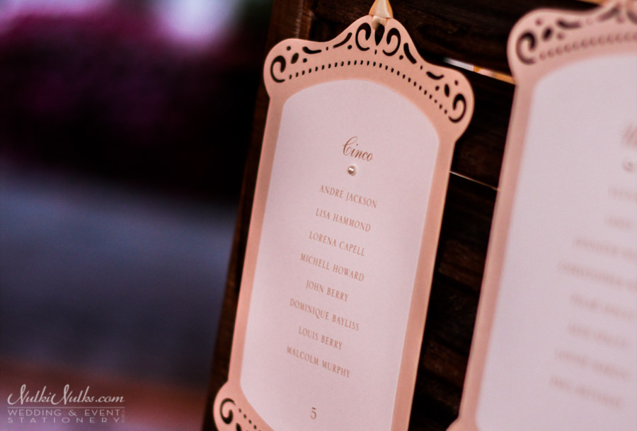 Elegant Cut-out hanging table seating chart