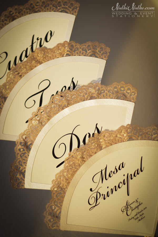 fan-shaped table numbers with lace detail in spanish