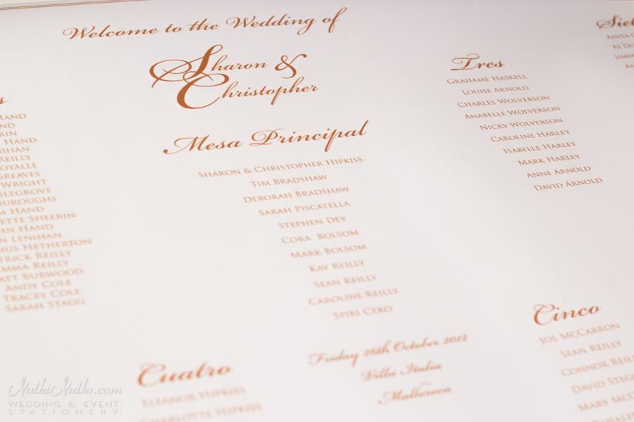 Printed table plan