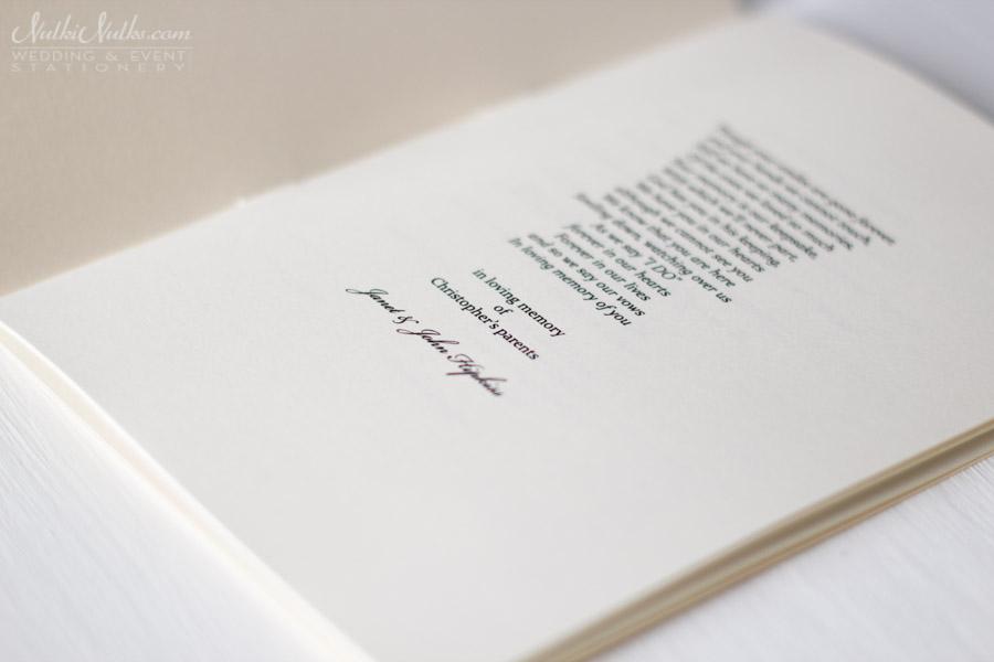 inside detail of order of mass booklet