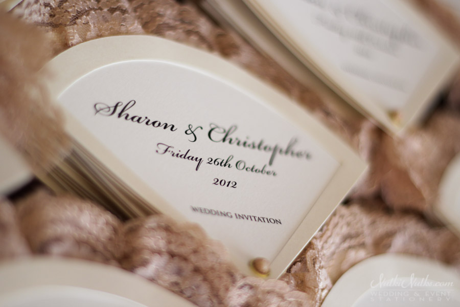 Fan-shaped wedding invitations