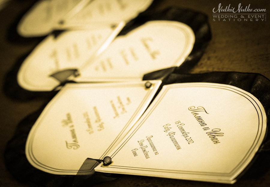 wedding fan invitation in ivory and black