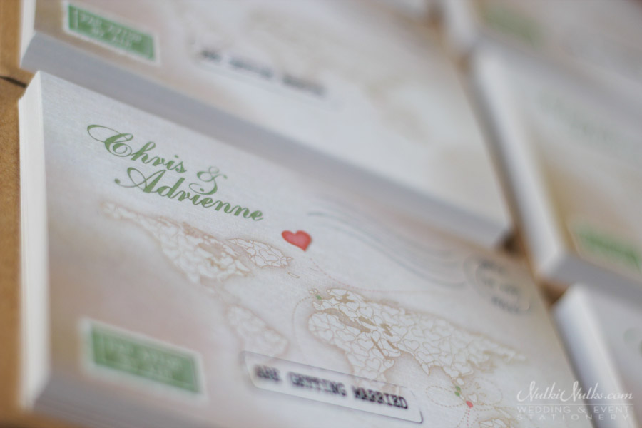 Close up of invitation cards