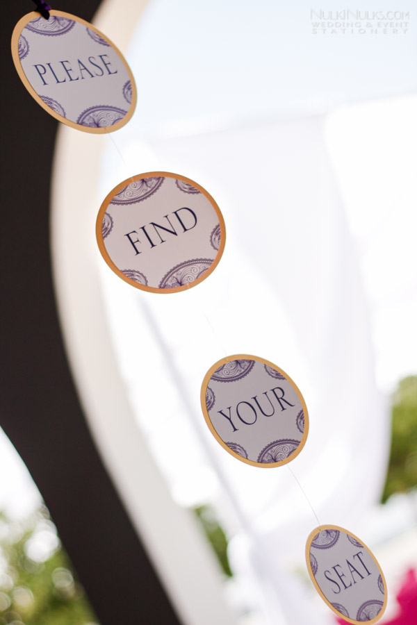 Hanging find your seat sign for table plan