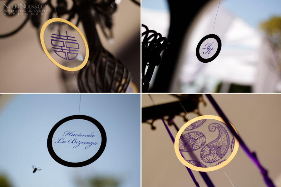 Transparent hanging circles with Chinese and Indian designs