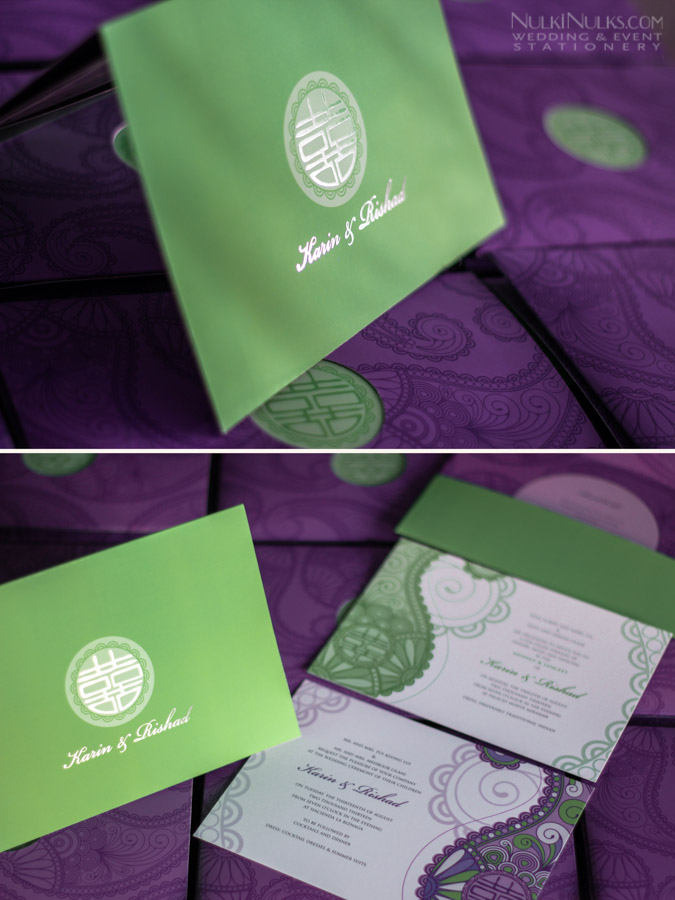 Purple and green wedding invitation pocket with Chinese & Indian motif