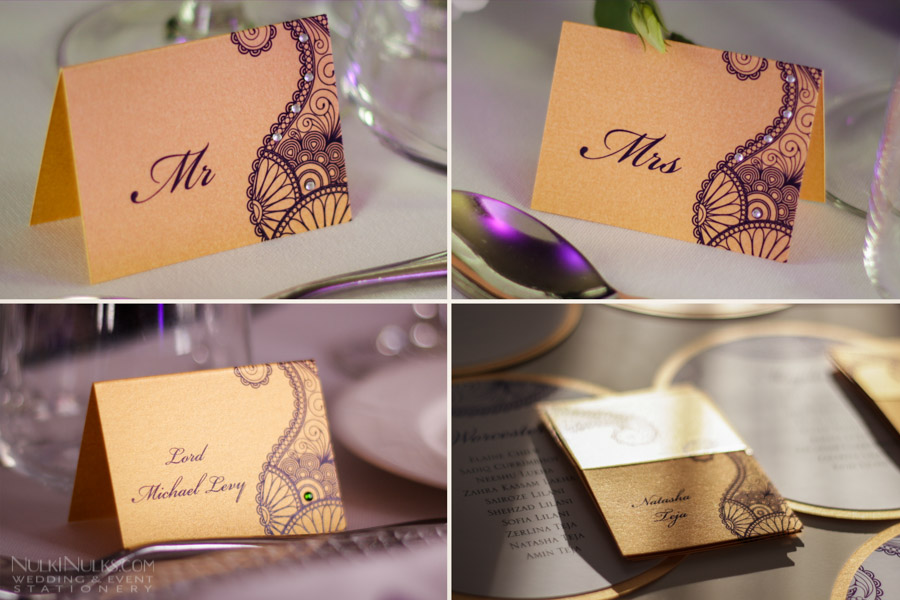 Gold tent Place Cards