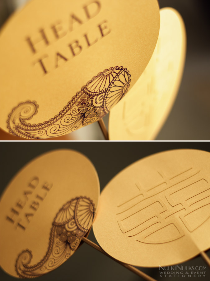 Gold circular Table Names