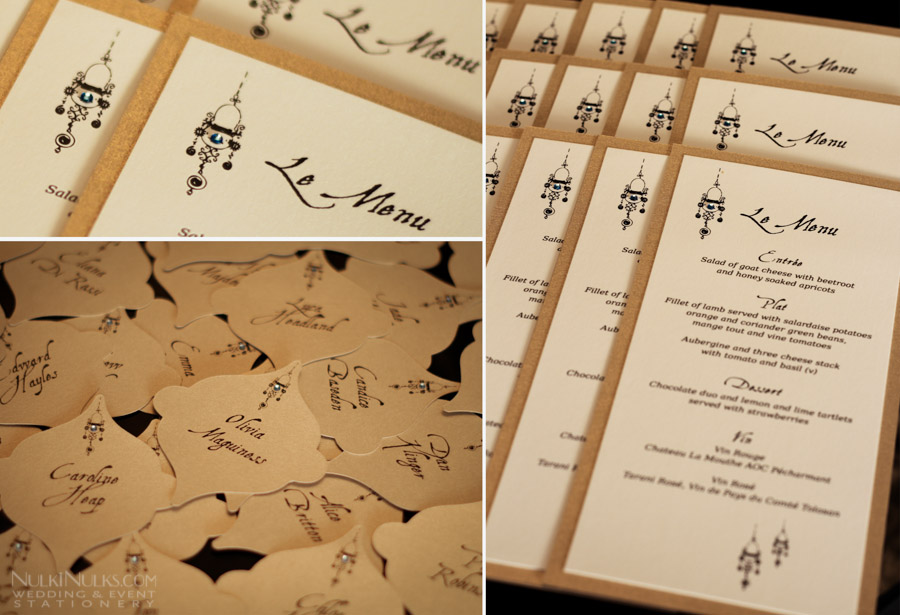 Gold Moroccan Menus and Place Cards