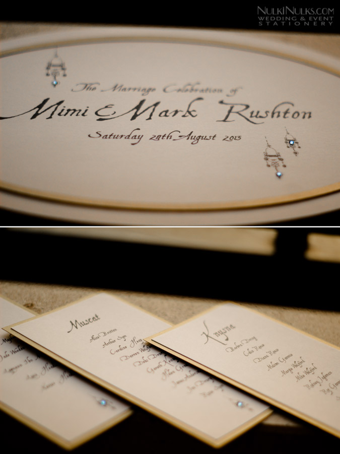 Close up of wedding table plan cards