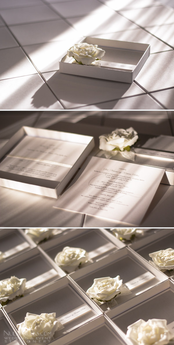 Boxed wedding invitation with flower detail
