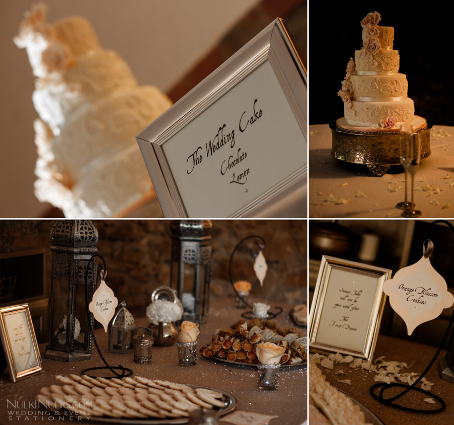 Wedding Cake and Moroccan Styled Dessert Table