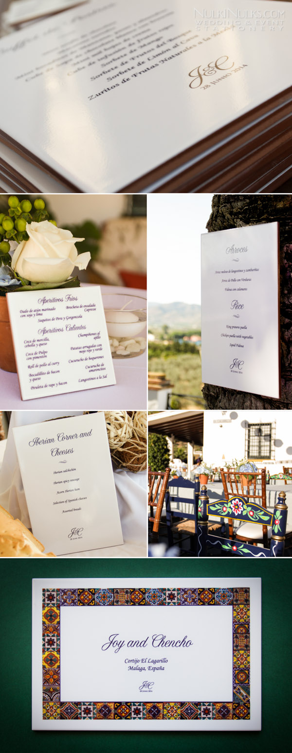 Rustic wedding tile menu