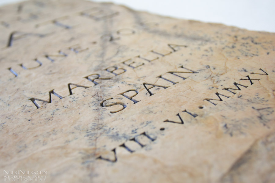 Detail of save the date stone
