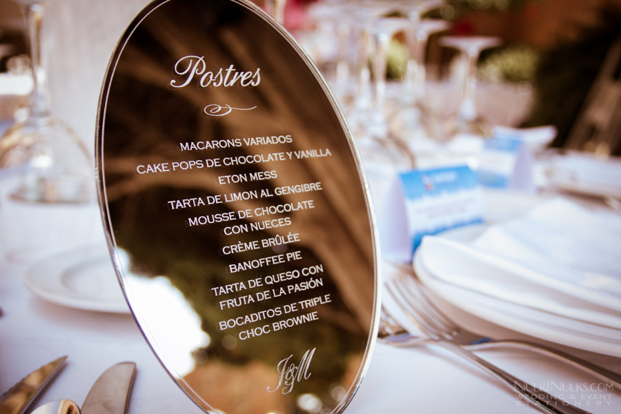 Mirrored Wedding Menu