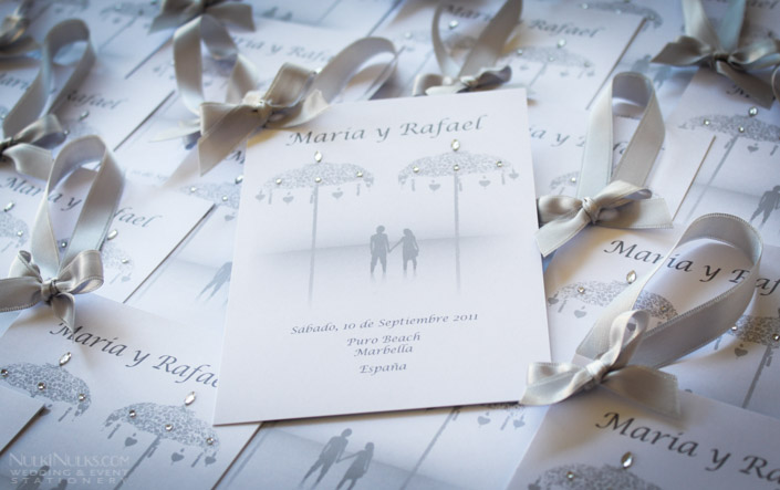 Bali-themed Wedding Invitations in grey and silver