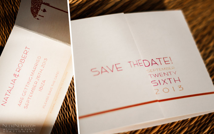 Folded Save The Date for Weddings with Bali theme