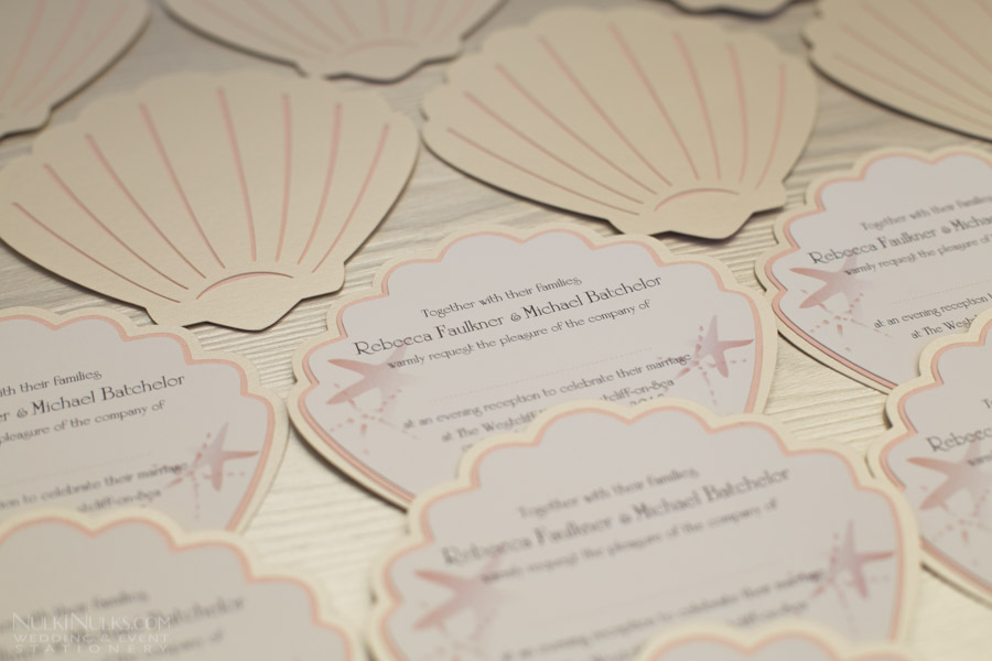 Coastal Finds Collection Beach Themed Wedding Invitations and Save
