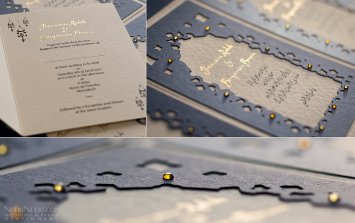 Moroccan 3D Wedding Invitation in Pearlescent Blue