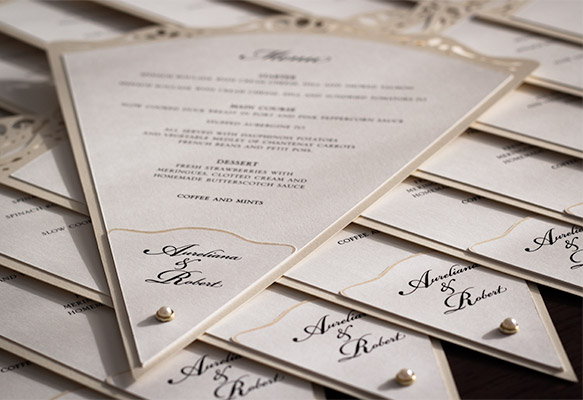 Elegant Fan-shaped Wedding Menu