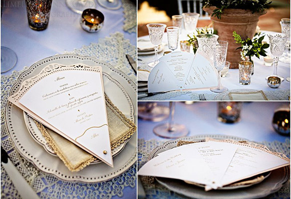 Fan-shaped Wedding Menu and Program