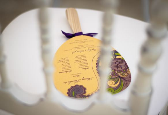 Wedding Paddle Fans with Asian Motif