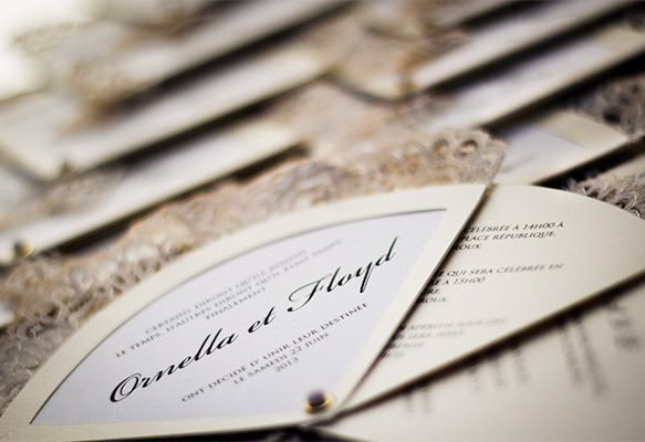 Couture Vintage Fan-shaped Wedding Invitations