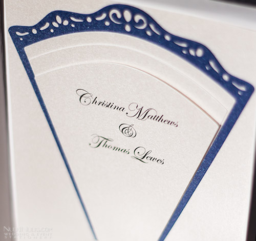 Fan-shaped Wedding Invitation with cut-out Edge