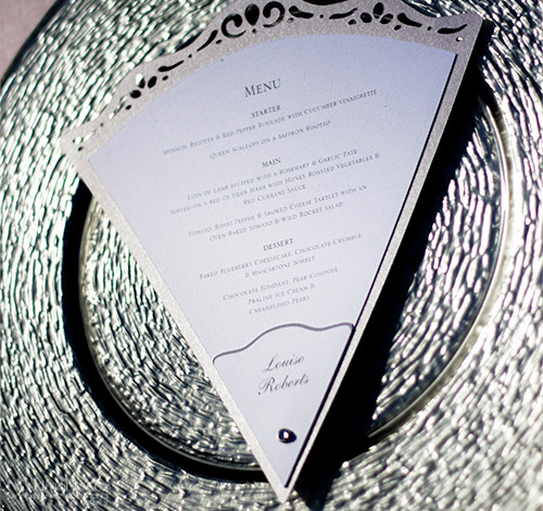 Fan-shaped Wedding Menu with cutout edge