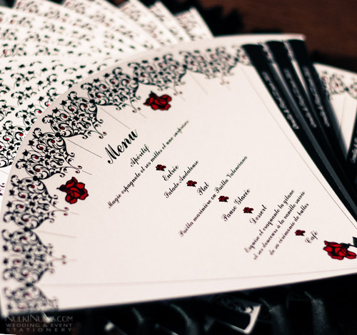 Fan-shaped Spanish-style Wedding Menu