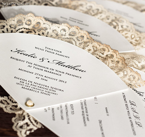 Fan-shaped Wedding Invitation with printed border and lace