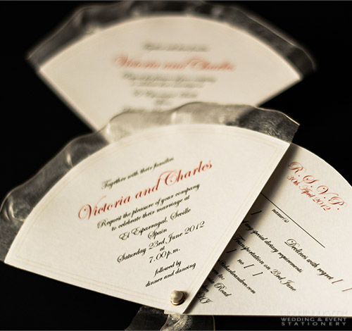 Fan-shaped Wedding Invitation with printed border and organza trim