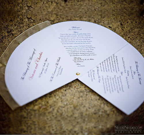 Fan-shaped Wedding Program with printed border and Organza