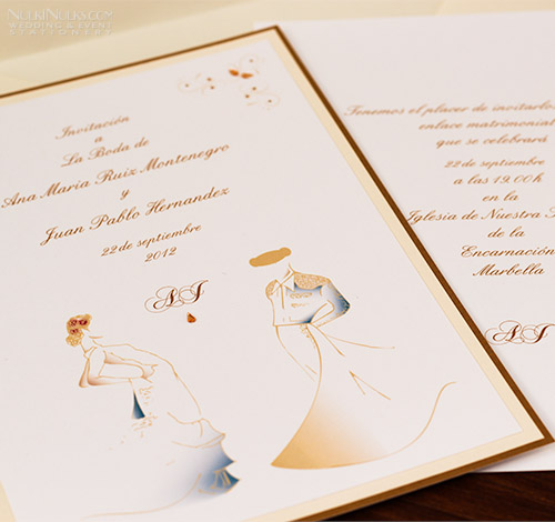 Larger Wedding Invitation with Spanish couple
