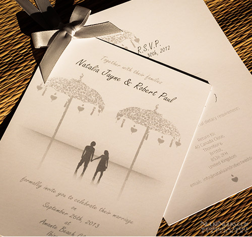 Bali Wedding Invitation with ribbon
