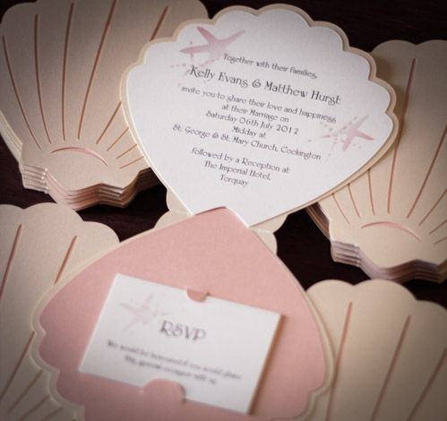 Custom-made shell-shaped Wedding Invitation