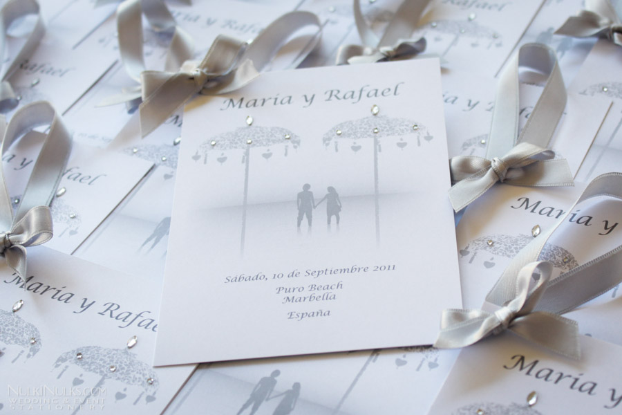 Wedding Invitations with ribbon and diamantes