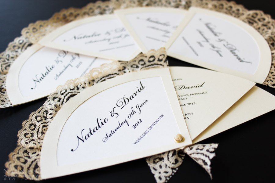 Fan-shaped Wedding Invitations with lace edge