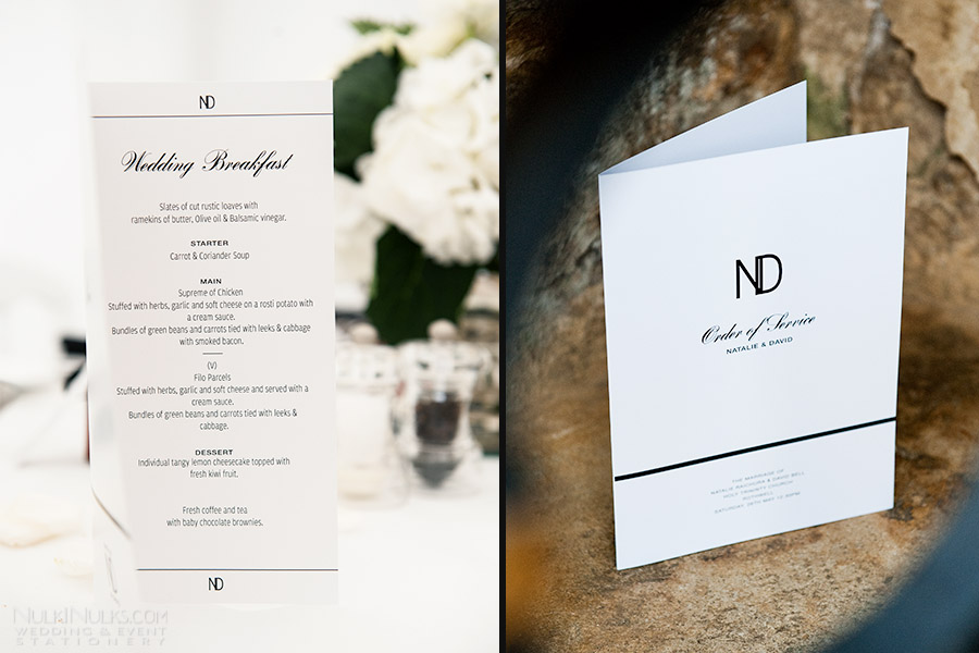 Black and White Elegant Wedding Menu and Order of Service